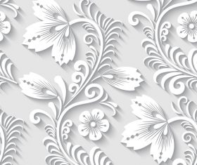 Paper-cut floral 3d seamless pattern vector 04