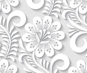 Paper-cut floral 3d seamless pattern vector 05