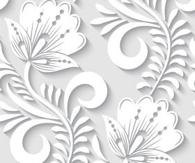 Paper-cut floral 3d seamless pattern vector 06