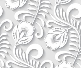 Paper-cut floral 3d seamless pattern vector 07