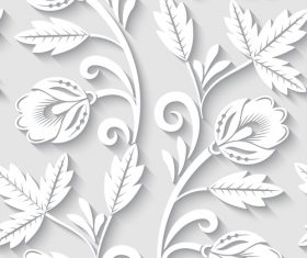 Paper-cut floral 3d seamless pattern vector 08
