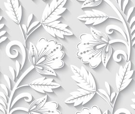 Paper-cut floral 3d seamless pattern vector 09