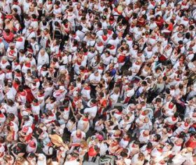 People who participated in the San Fermin festival in Spain Stock Photo
