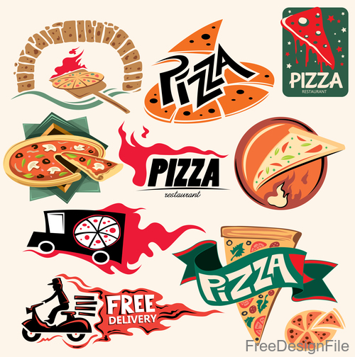 Pizza delivery logos design vectors