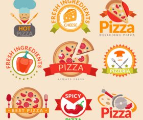 Pizza retor labels with badge vector