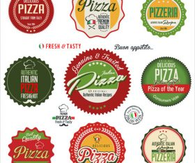 Pizza retro badge with labels vector