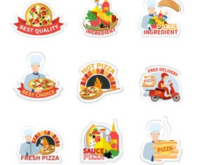 Pizza sticker design vector set