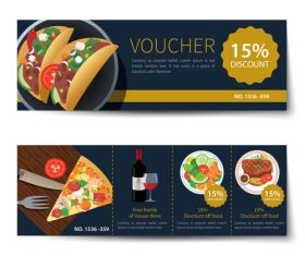 Pizza voucher template vectors 02