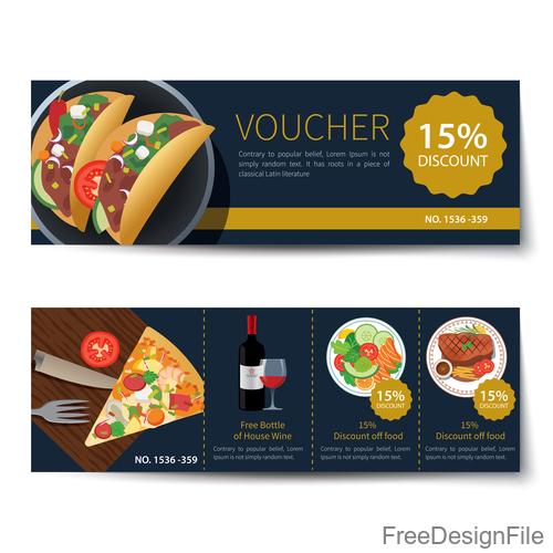 Pizza voucher template vectors 02