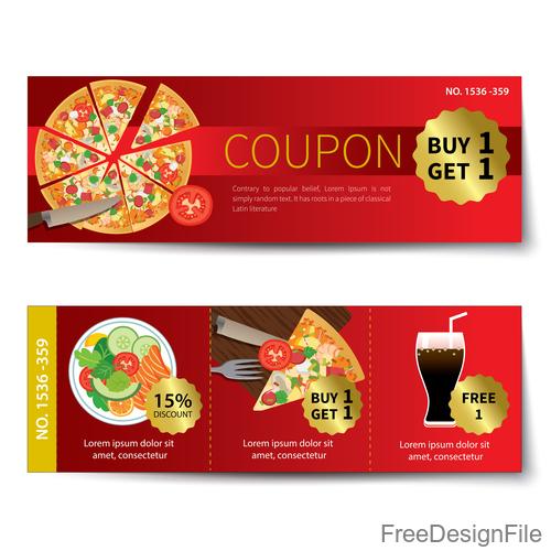 Pizza voucher template vectors 03