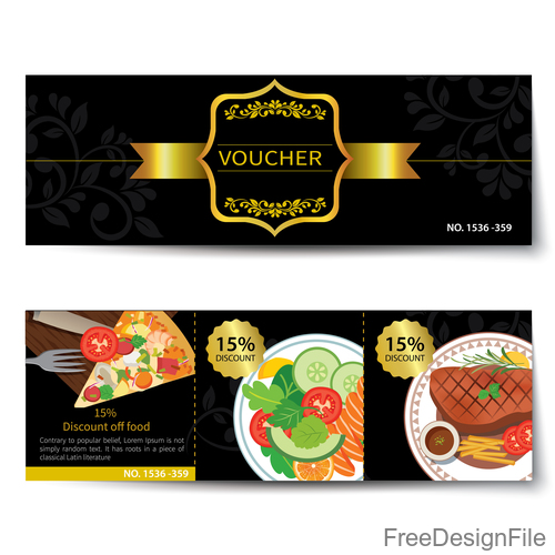 Pizza voucher template vectors 04