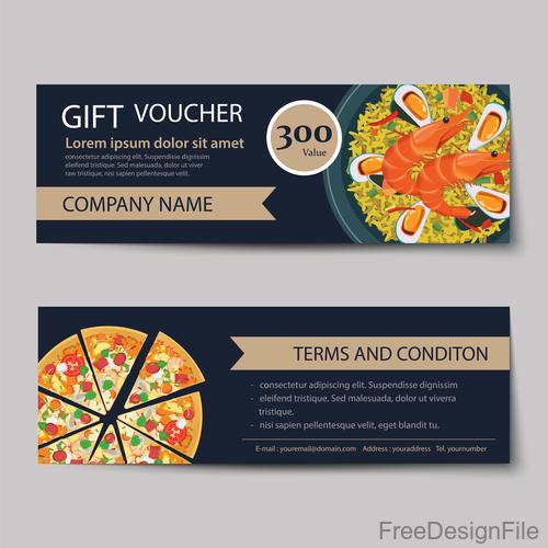Pizza voucher template vectors 05