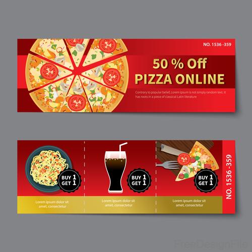 Pizza voucher template vectors 07