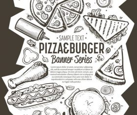 Pizza with burger vertical banner vector