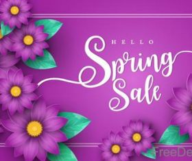 Purple sale background with purple flower vector