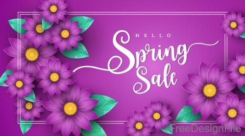 Purple sale background with purple flower vector