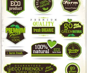 Quality goods labels with badges vector
