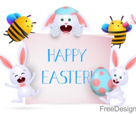 Rabbit with bee and easter background vector