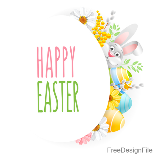 Rabbit with easter festival card vector 01