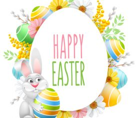 Rabbit with easter festival card vector 02