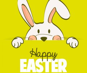 Rabbit with easter yellow background vector