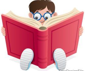 Reading book kid design vector 01