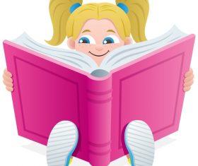 Reading book kid design vector 02