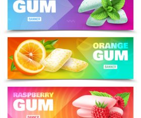 Realistic chewing gum banners realistic vector