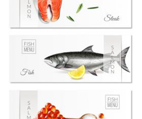 Realistic salmon banners vector