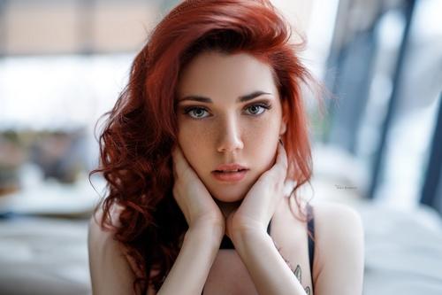 Red long hair beautiful girl Stock Photo