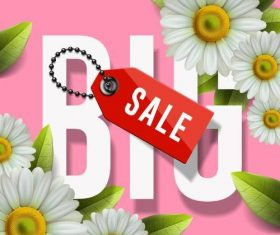 Red sale tag with spring flower background vector