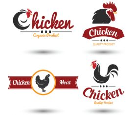 Red with black chicken logos design vector 01