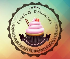 Retor cupcake labels vectors design 01