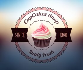 Retor cupcake labels vectors design 03