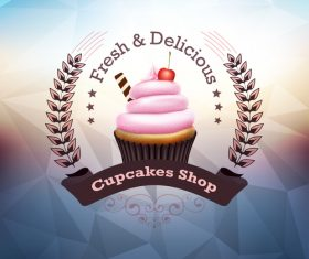 Retor cupcake labels vectors design 04