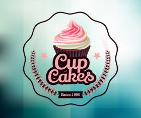 Retor cupcake labels vectors design 06