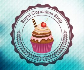 Retor cupcake labels vectors design 08