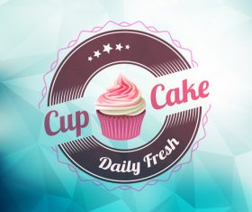 Retor cupcake labels vectors design 09