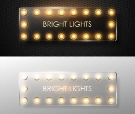 Retro bright lights with glass banners vector