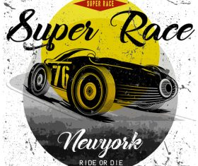 Retro car grunge background vector 01
