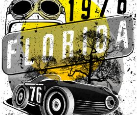 Retro car grunge background vector 02
