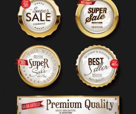 Retro vintage shiny golden labels vector set