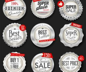 Retro vintage silver badges and labels vector