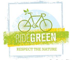 Ride green bike vector