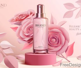 Rose with cosmetics advertisement poster template vectors 05