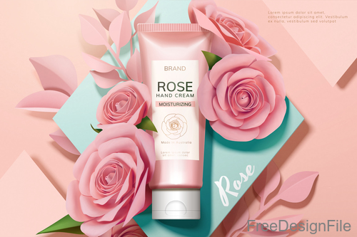 Rose with cosmetics advertisement poster template vectors 03