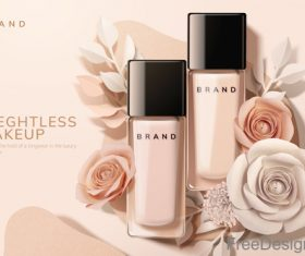 Rose with cosmetics advertisement poster template vectors 01