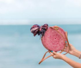 Round woven bag used by women Stock Photo 01