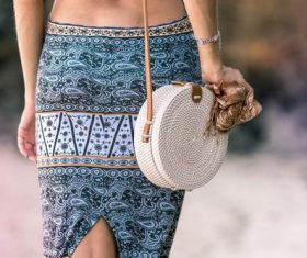 Round woven bag used by women Stock Photo 03