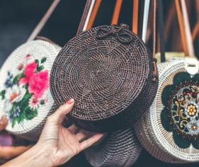 Round woven bag used by women Stock Photo 04